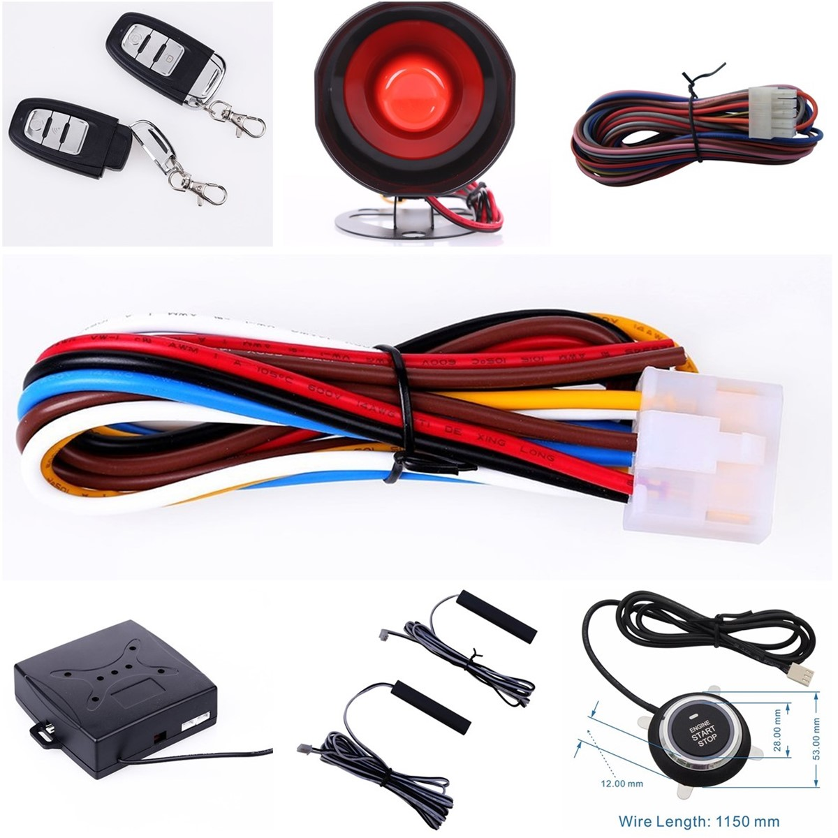Car Alarm System With Push Button Start Remote Engine