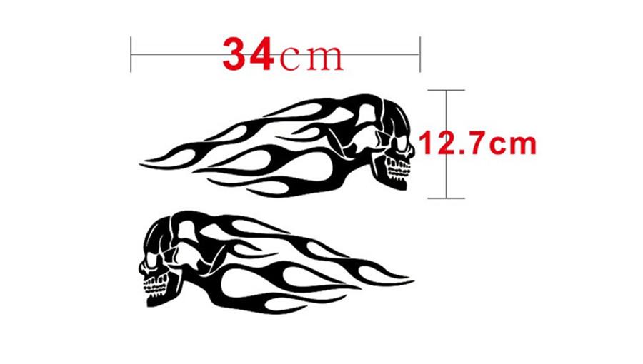Pair Black Flame Skull Vinyl Decal Waterproof Decoration Sticker for Motorcycle