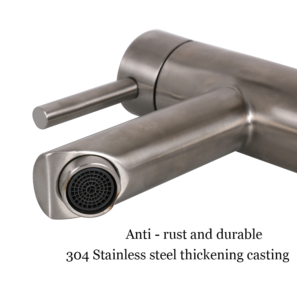 """7/"""" 180mm Faucet Washbasin Stainless Steel Body Double Control for Bathroom"""