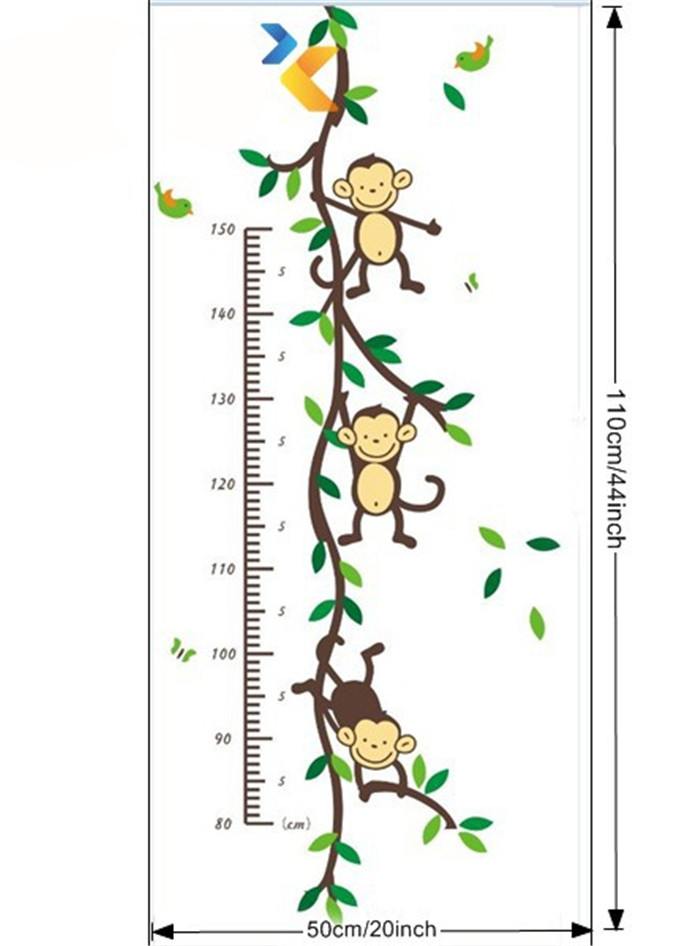 Diy Jungle Monkey Tree Height Measure Growth Chart Wall Sticker Art