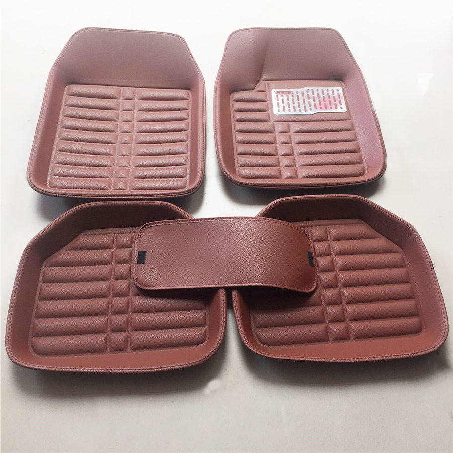 5x Brown Pu Leather Car Floor Mats W Liner Carpet All