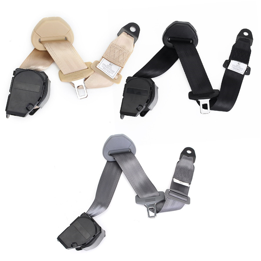2 Sets Curved Rigid Buckle Heavy-duty Nylon Strap Car 3 Point Safety Seat Belts