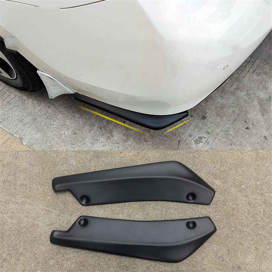 2X Stylish Car Bumper Spoiler Rear Lip Canard Diffuser Anti-scratch Matte Black