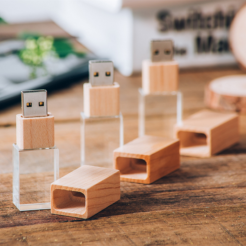5 Pack Rose Gold Crystal USB 2.0 Flash Drive Customized Photography Wedding Gift