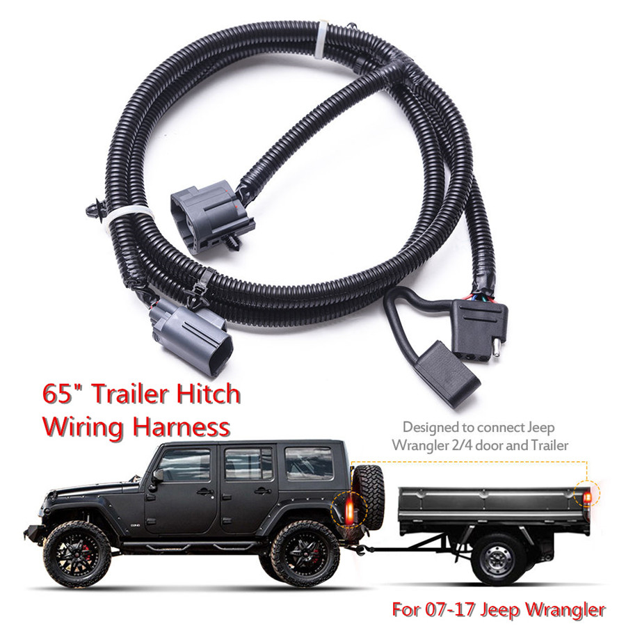 65\'\' Trailer Hitch Wiring Harness 4 Pin Connector For Jeep Wrangler ...