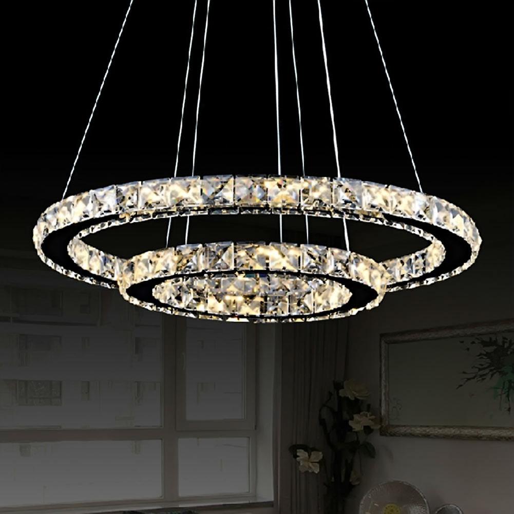 led crystal ring chandelier pendant light lamp ceiling fixture home