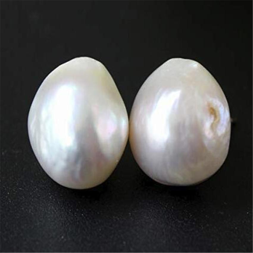 12-13mm huge white Baroque pearl earrings 18k ear stud Real Wedding AAAA elegant