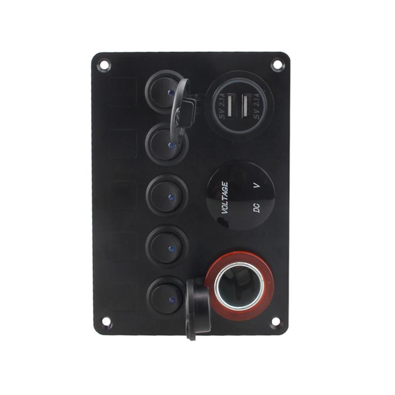 5 gang car boat dash led rocker switch panel 12v usb. Black Bedroom Furniture Sets. Home Design Ideas