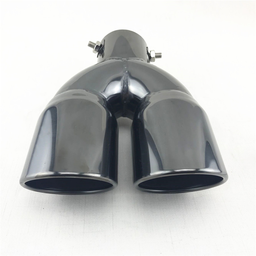 """Universal Stainless Steel 2.5/""""Inlet Round Car Tail Pipe Muffler Dual Exhaust Tip"""