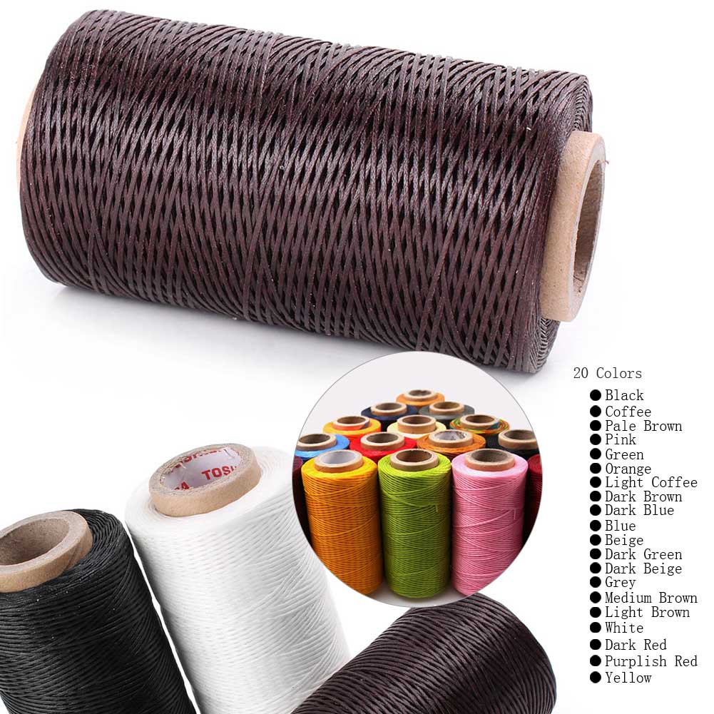 Strong Medium Brown 1mm thick Leather Sewing Stitching Hand Stitch Thread Waxed
