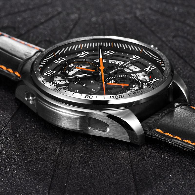 Product Description & PAGANI DESIGN 22mm Black Genuine Leather 316L Date Men Quartz ... azcodes.com