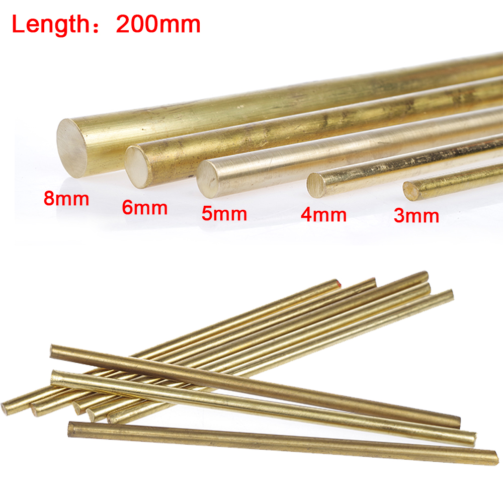 15Pcs Brass Pin 2-8mm Dia Unpolished Round Rod Blank Scales Blade Handle 100mm