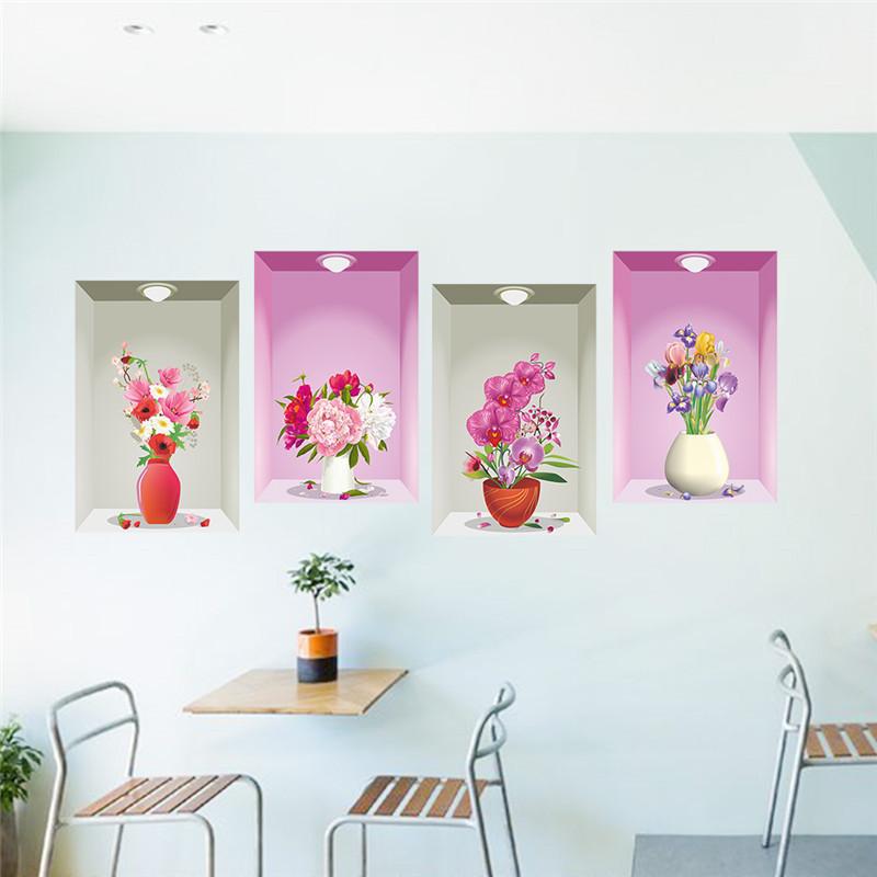 3D Flower Vase Wall Sticker Decal Living Room Mural Decoration ...