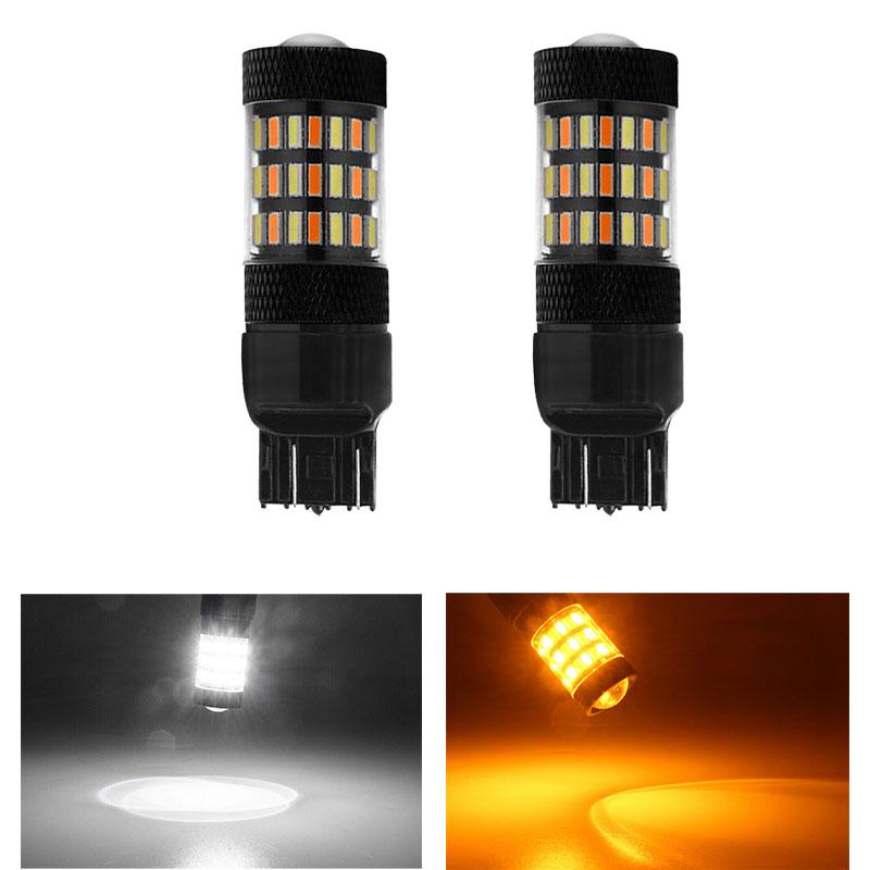 2X BAU15S 4014 60SMD Dual Color Switchback Car Reverse Turn Signal Led Light