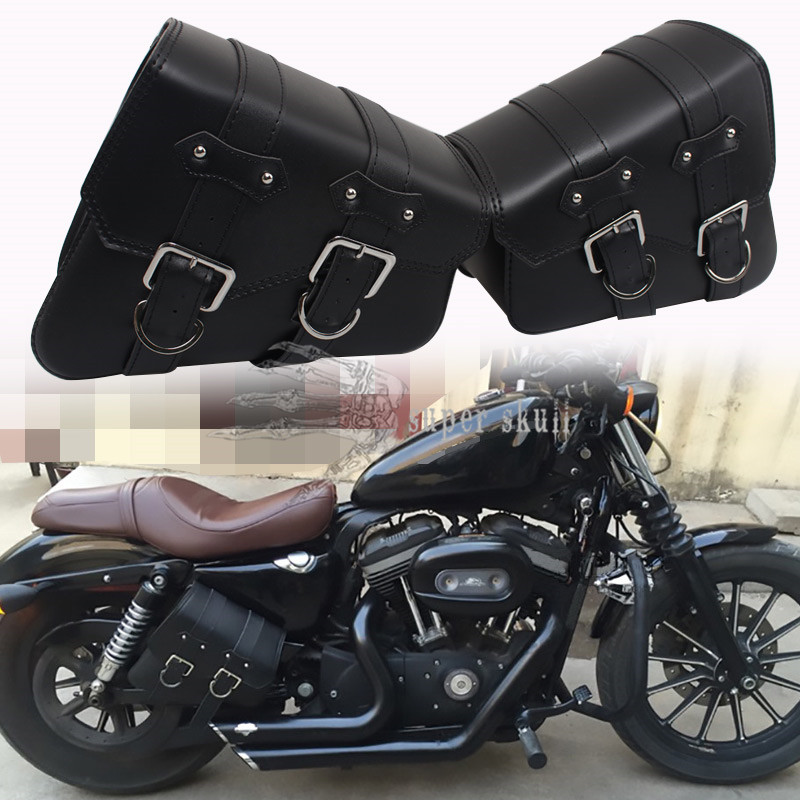 Black Motorcycle Tool Bag Toolbag Cruiser Chopper Cafe Racer Old School Bobber