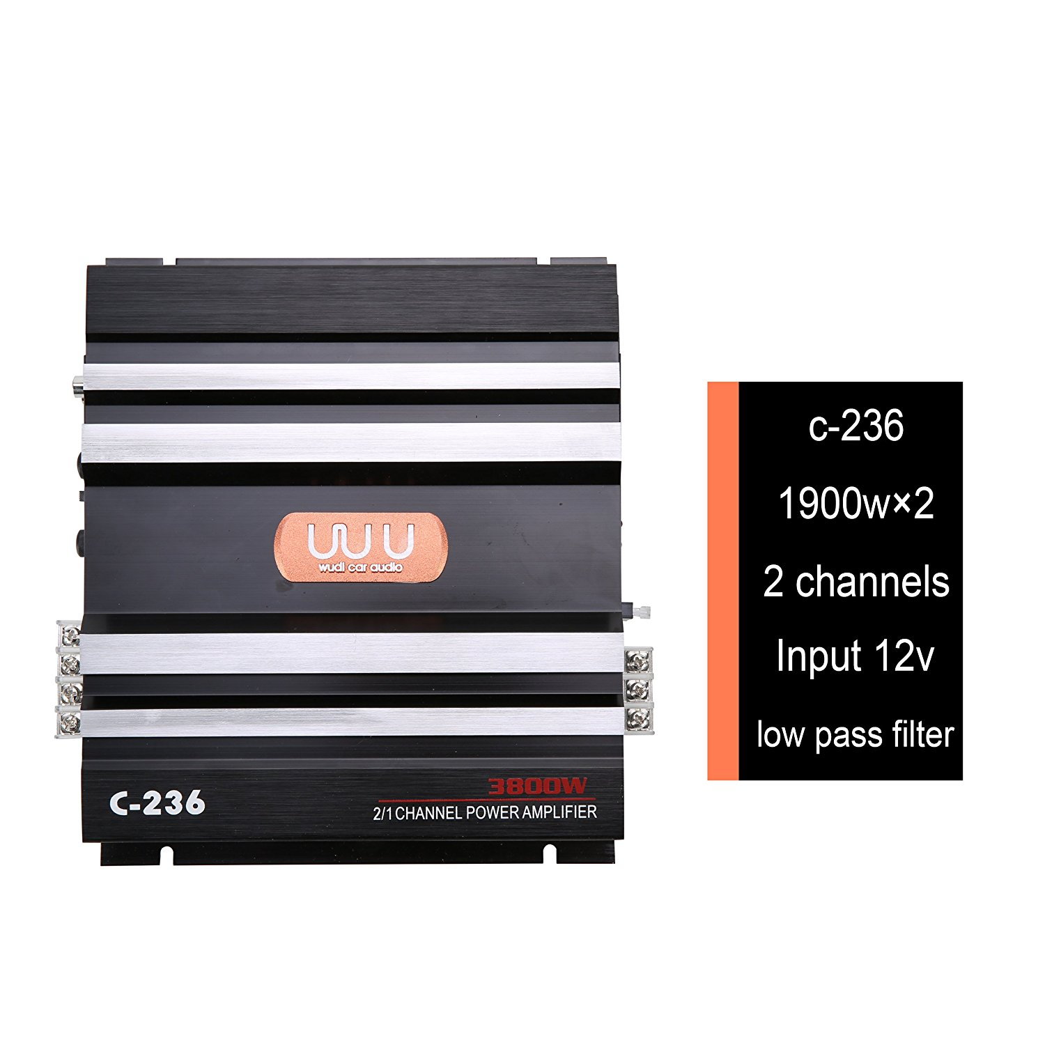 3800W 2 Channel Car Audio Stereo Amplifier,Universal 12V Bass Subwoofer Power AMP Aluminum Alloy,BessieSparks