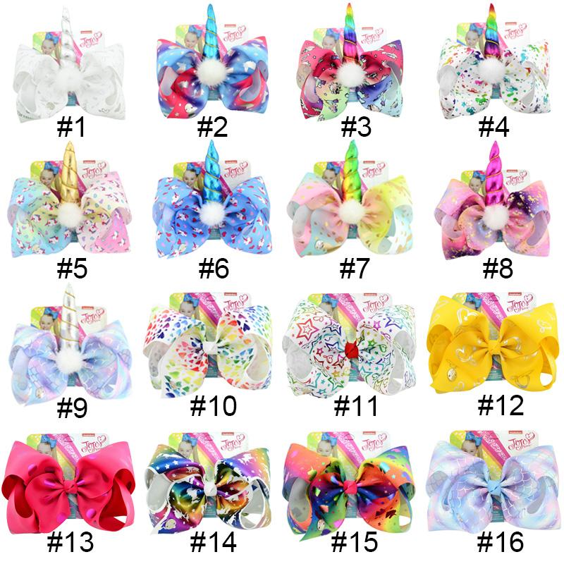 6Pcs Set Girl Fashion JOJO Siwa Rainbow Cartoon Bowknot Kids Beauty Hair bow