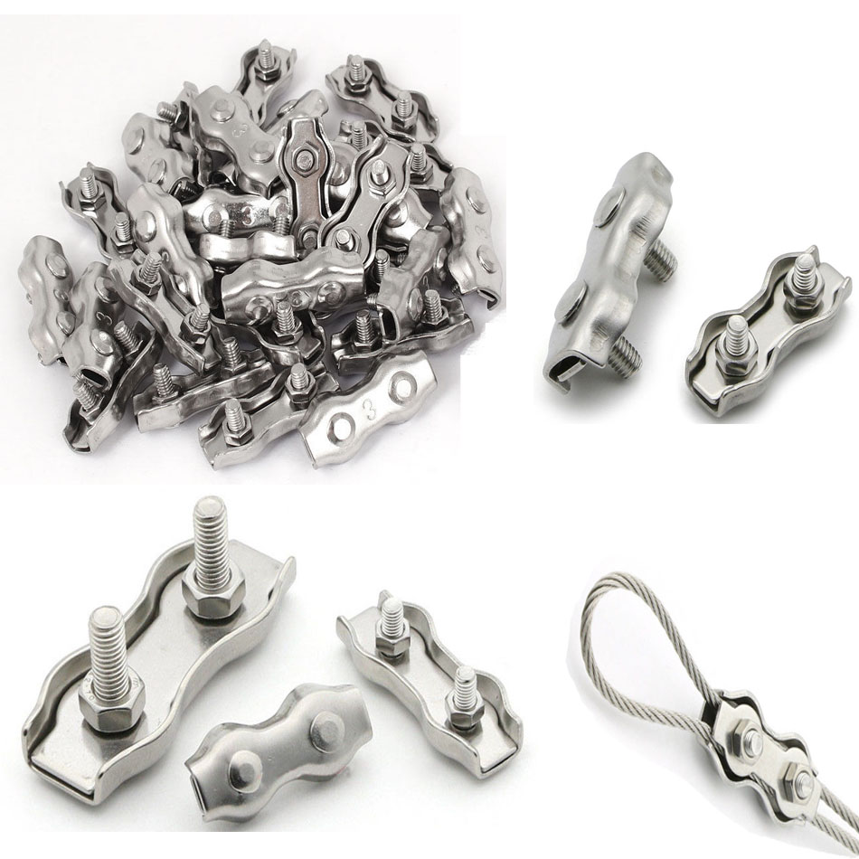 Durable 316 Stainless Steel Wire Rope Grip U-Shaped Cable Clip Clamp M3 M4 M5