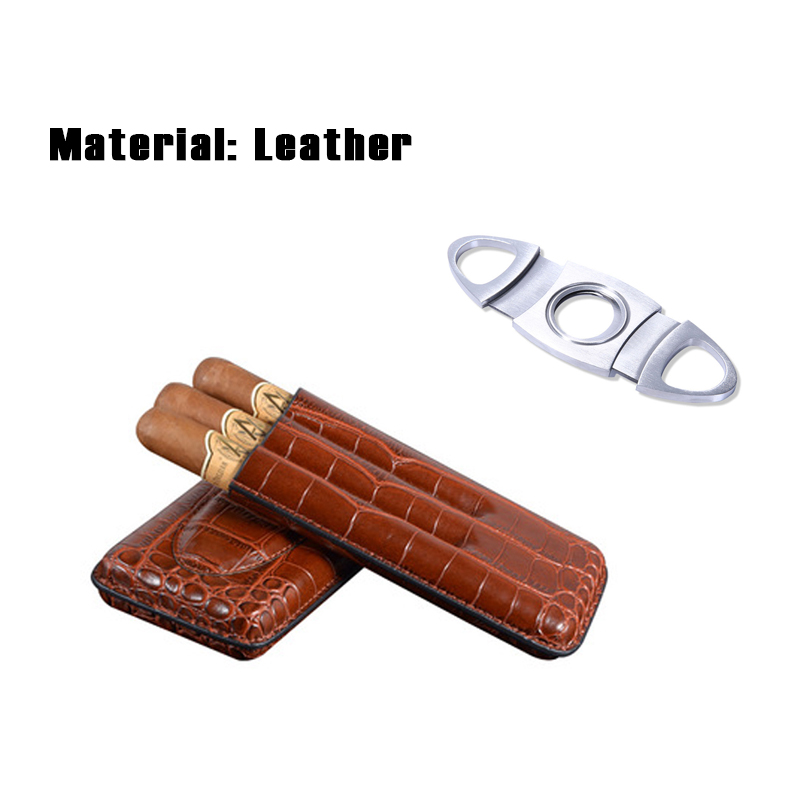 31d292250a77 Details about Brown Crocodile Leather Travel Cigar Case Holder with Cigar  Cutter 3Tube Tool