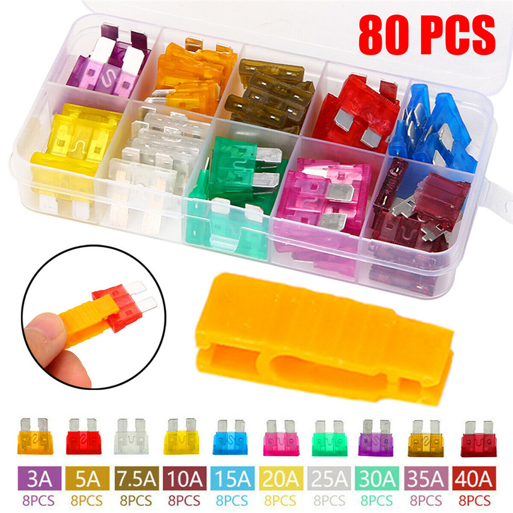 Easy to use 50Pcs Mix Assorted Car Motorcycle Truck Blade Fuse Set Kit 3A 5A 10A 15A 20A 25A 30A 35A 40A with Fuse Puller Easy to install