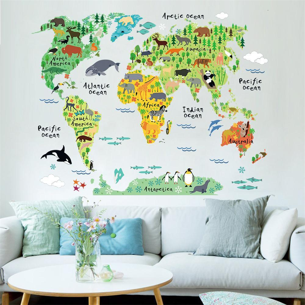 Colorful animal world map wall sticker decal vinyl kids room office colorful animal world map wall sticker decal vinyl kids room office home decor gumiabroncs Images