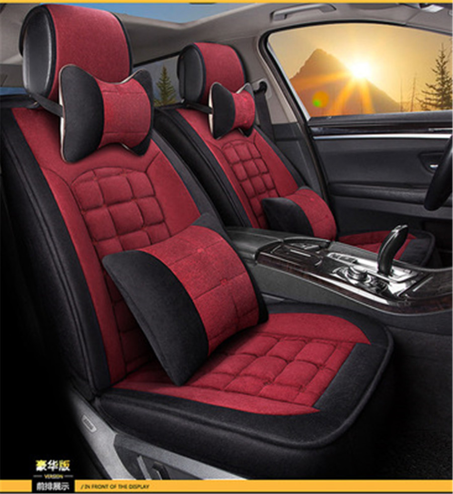 Luxury Edition Winter Car Seat Covers Plush Cushion Cover 3D Full Surrounded
