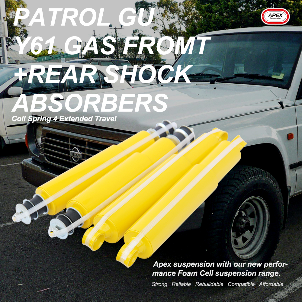 Details about Patrol GU Y61 Coil Spring Front+Rear 4 Extended Travel Gas  Shock Absorbers
