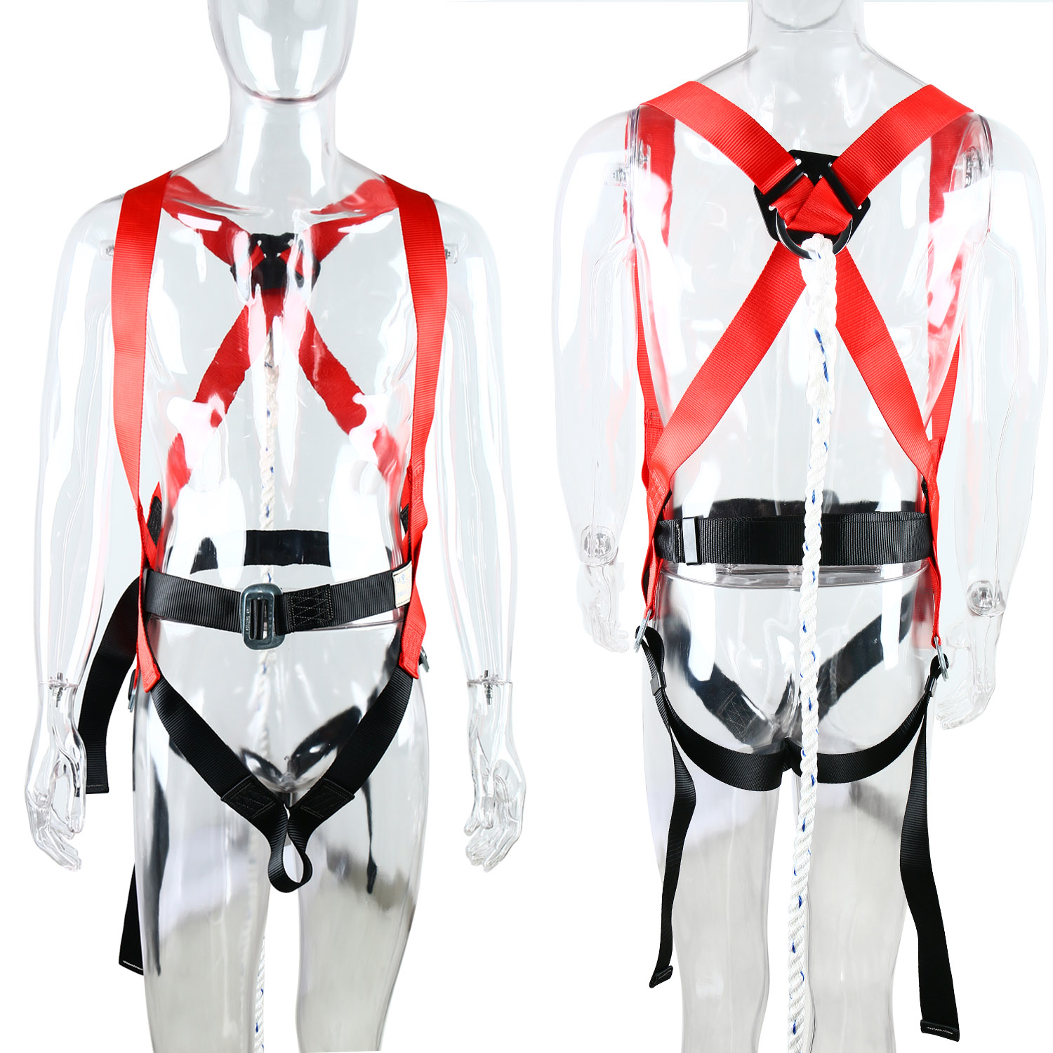 Fall Protection 5 Points Adjustable Full Safety Harness Belt ...