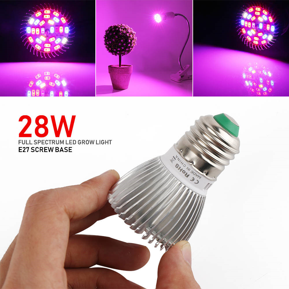 Neu 28W LED Grow Pflanzenlampe E27 Wachsen Licht Voll Spectrum für Blume Pflanze