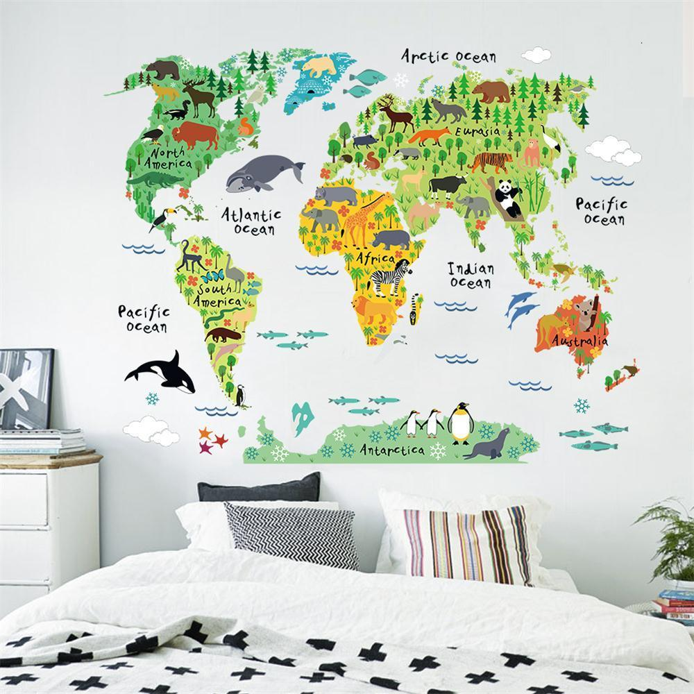 Colorful animal world map wall sticker decal vinyl kids room office brand new fashion design and high quality material pvc colormulti package 1x wall decal composing size60x90cm 1sheets finished size95x73cm gumiabroncs Image collections