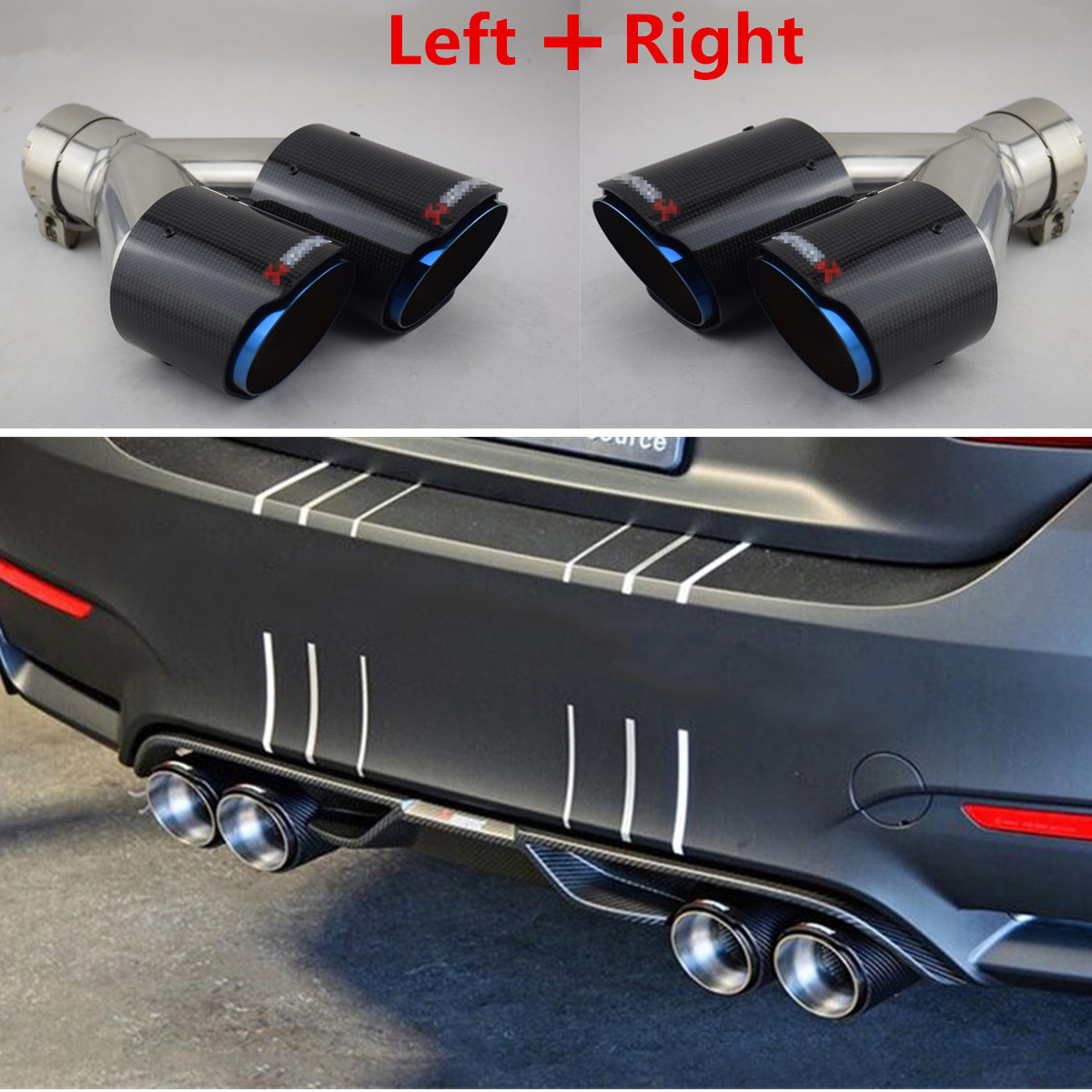 Carbon Fiber Auto SUV Exhaust Pipe Muffler Rear End Tail Tips For Car 60//63*89mm