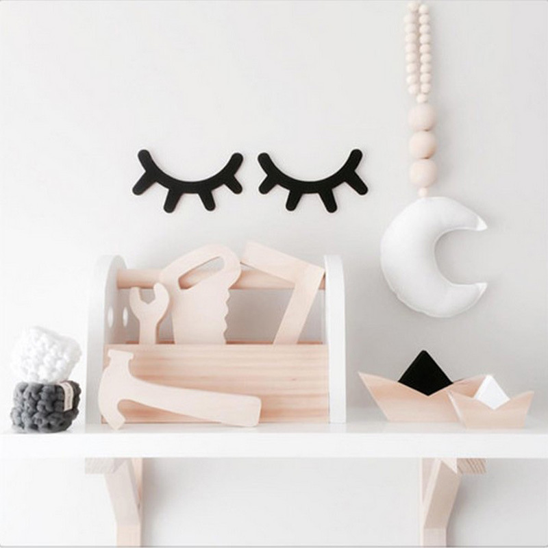 Cartoon Wood 3D Wall Stickers Sleepy Eyelash Decal Art Kids Room DIY Home Decor