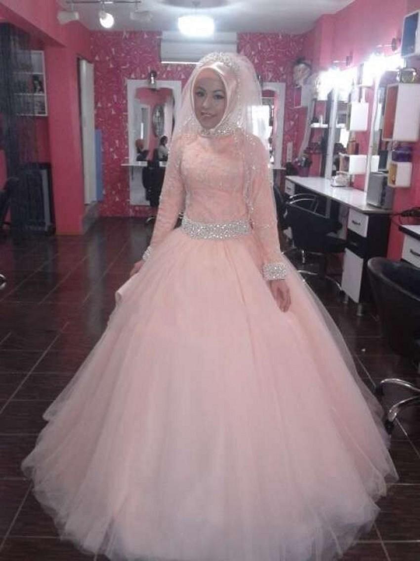 High Collar Muslim Wedding Dresses Long Sleeve Beaded Bridal Gown ...