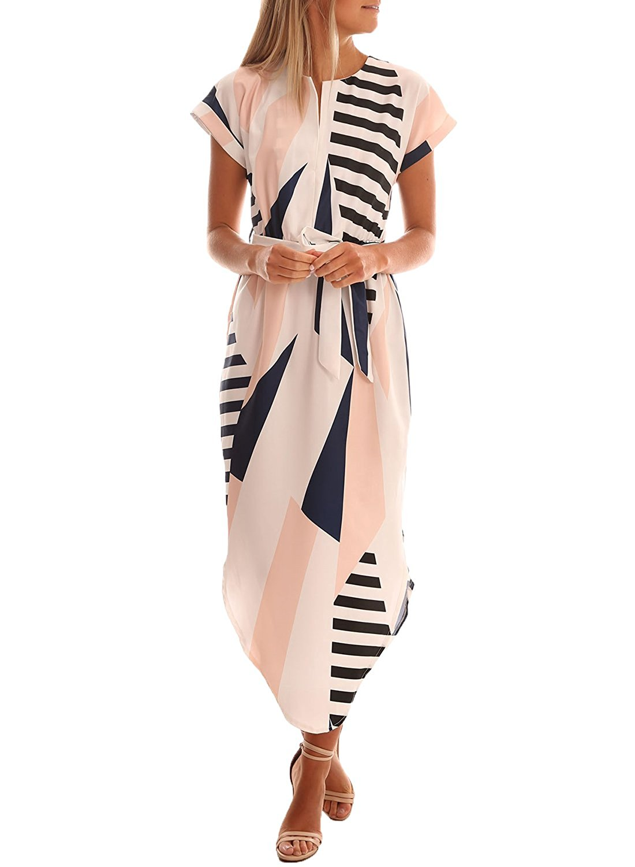 9058e3f09db7 Women Geometric Printed V Neck Short Sleeve Casual Wear Loose Calf Length  Dress