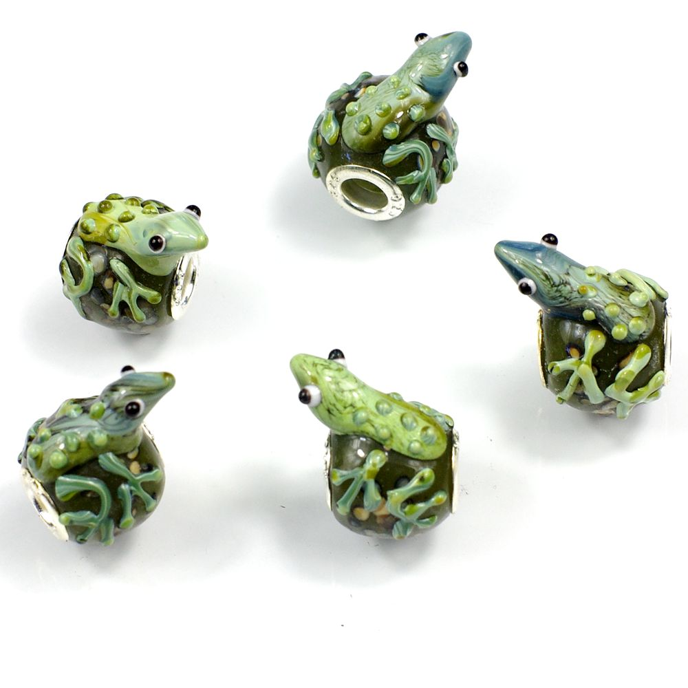 5pc murano glass lwork frog bead animal fit european