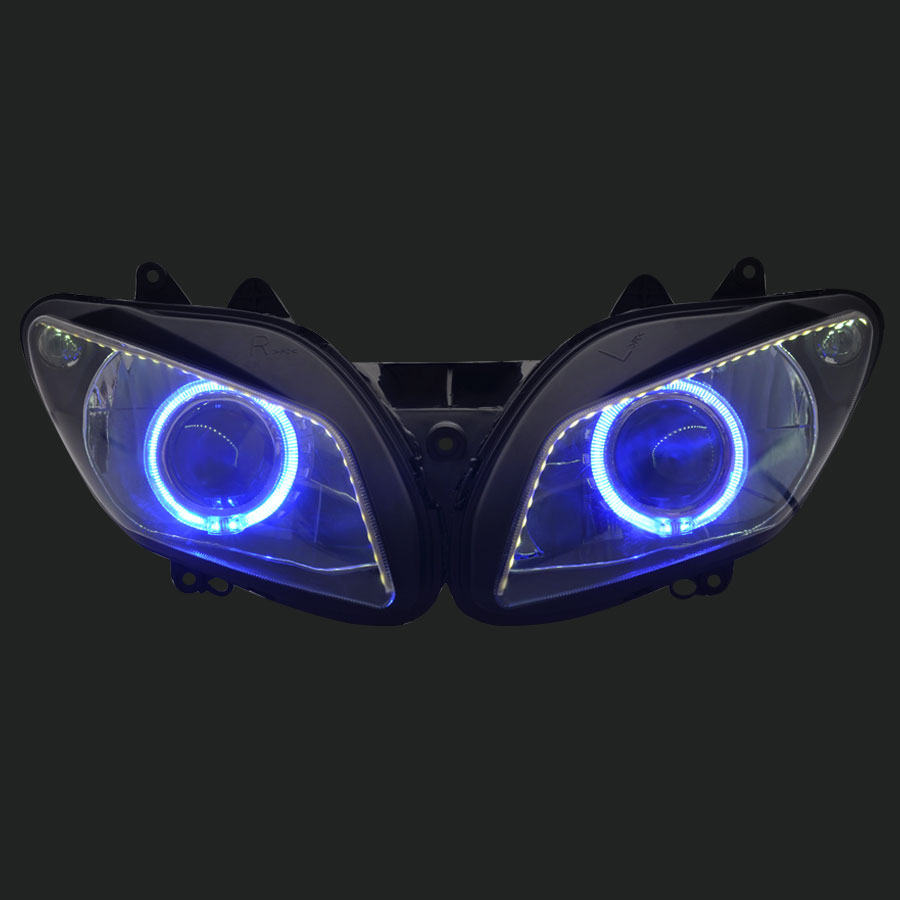 Headlight lamp Assembled Blue Angel Eyes with LED Strips For Yamaha YZF R6 08-10