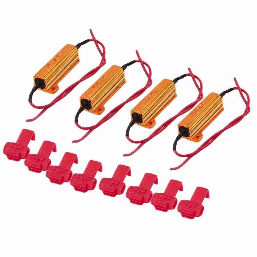 4x 50W 6 ohm Load Resistor Fix LED Bulb Fast Hyper Flash Turn Signal Blink