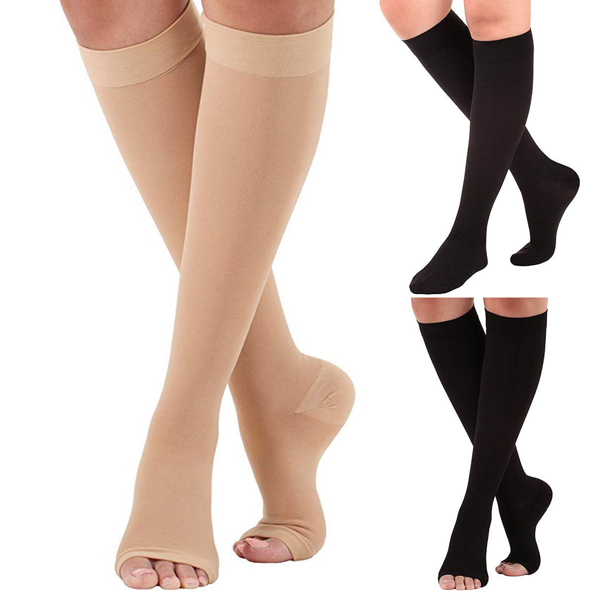 a5f0fef08e4 Details about 23-32mmHg Medical Compression Socks Knee High Support  Stockings Open Closed Toe