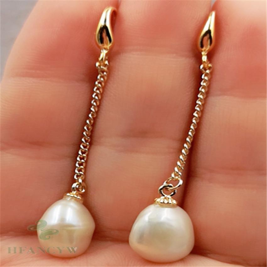 13-17mm south sea white baroque pearl earrings 14k sweater AAA aurora teardrop