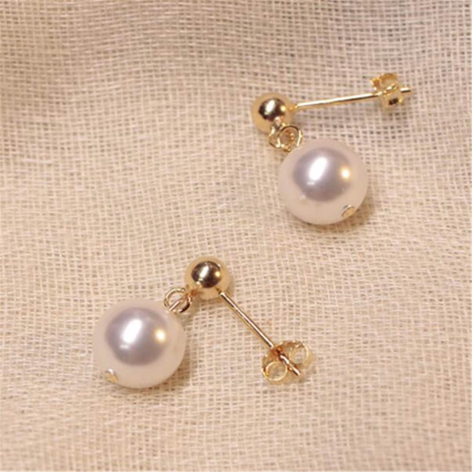 Round 12mm Gold South Sea Shell Pearl Drip Dangle Earrings AAA Grade