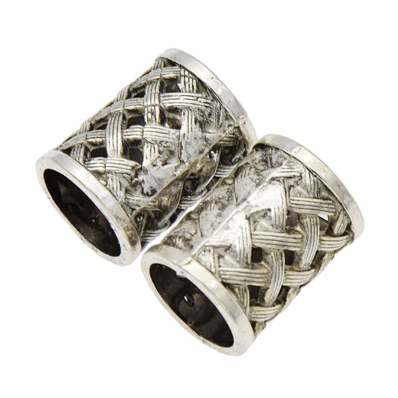 18mm Alt Silber Dame Herrenschmuck Vintage Dreadlock Beads Flechten Haarschmuck