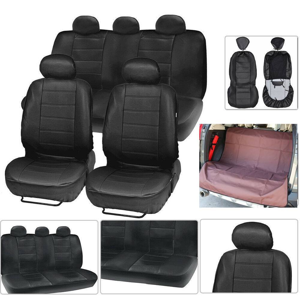 Fabulous Faux Leather Car Seat Covers For Auto Black W Car Bench Pdpeps Interior Chair Design Pdpepsorg