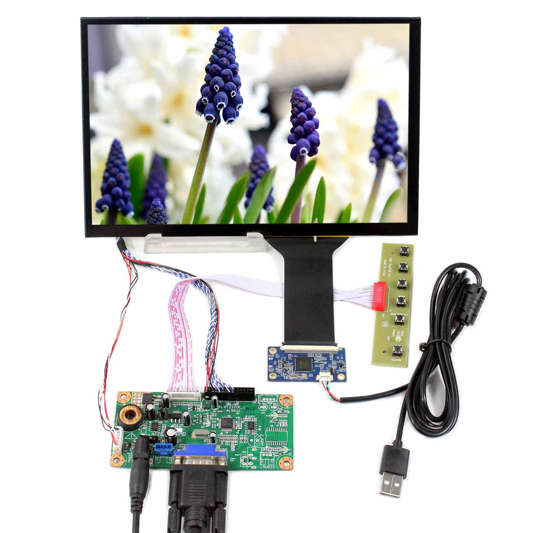 """HDMI LCD Controller Board 10.1/"""" 1366x768 IPS LCD Screen Resistive Touch Sensor"""