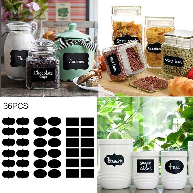 36pcs Chalkboard Blackboard Chalk Board Stickers Decals Kitchen Jar Labels Tags