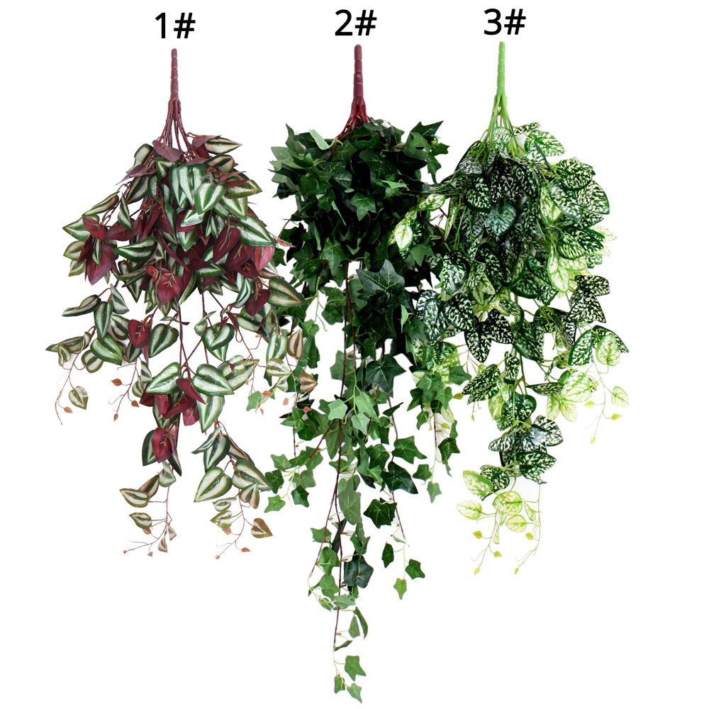 "2 Greenery Shrub/'s 17/"" Algerian Ivy Hang Bush 2 Artificial Plant Floral Decor"