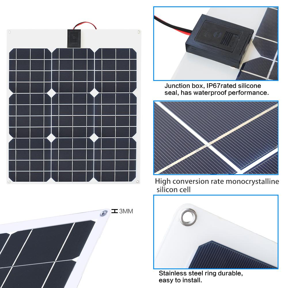 Solar Panels Mono 100w 18v Flexible Solar Panel Battery For Car Boat Home Roof Camping Power