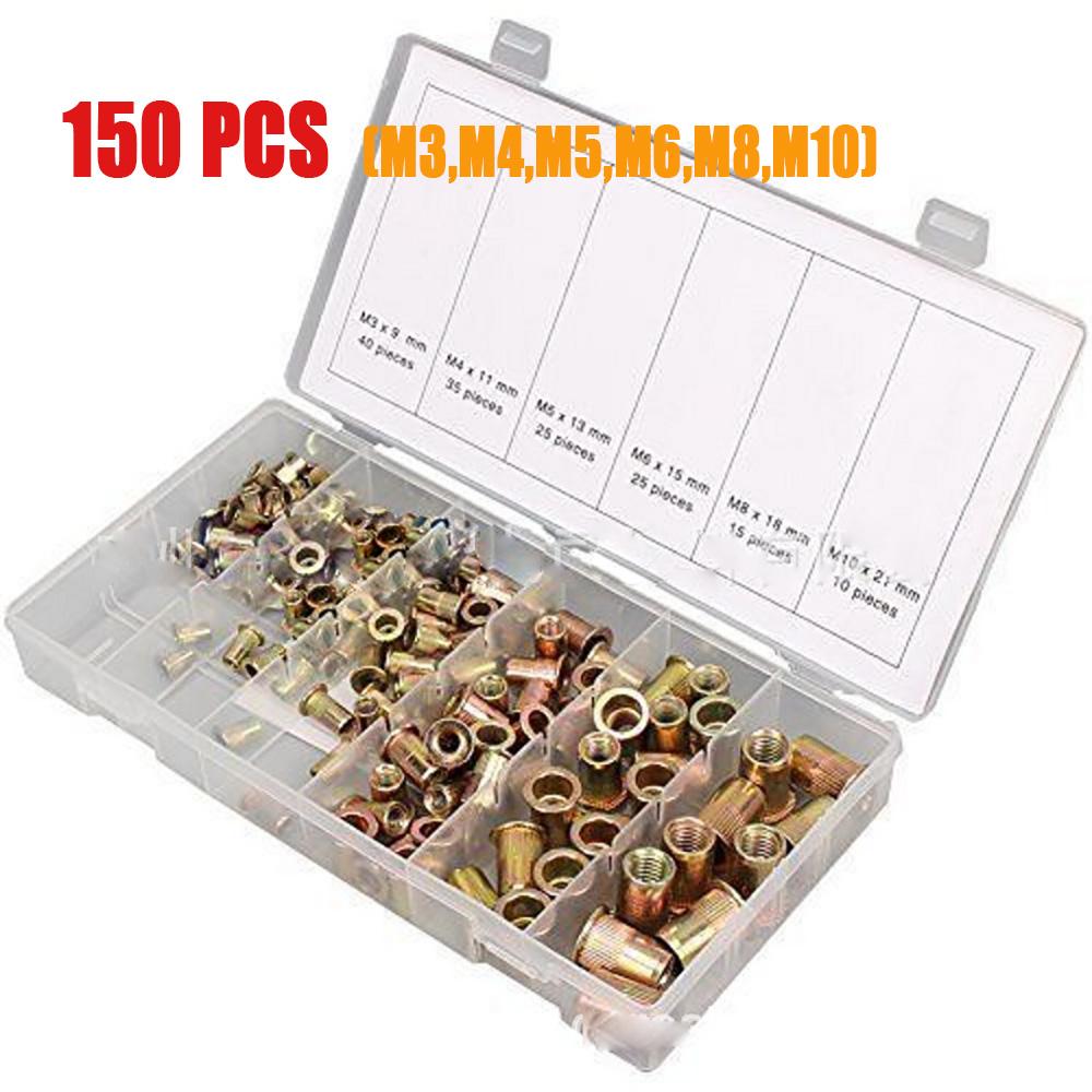 150Pcs Rivet nuts Blind Rivet Nuts Rivet Nuts Zinc Plated Assortment Tools Kits
