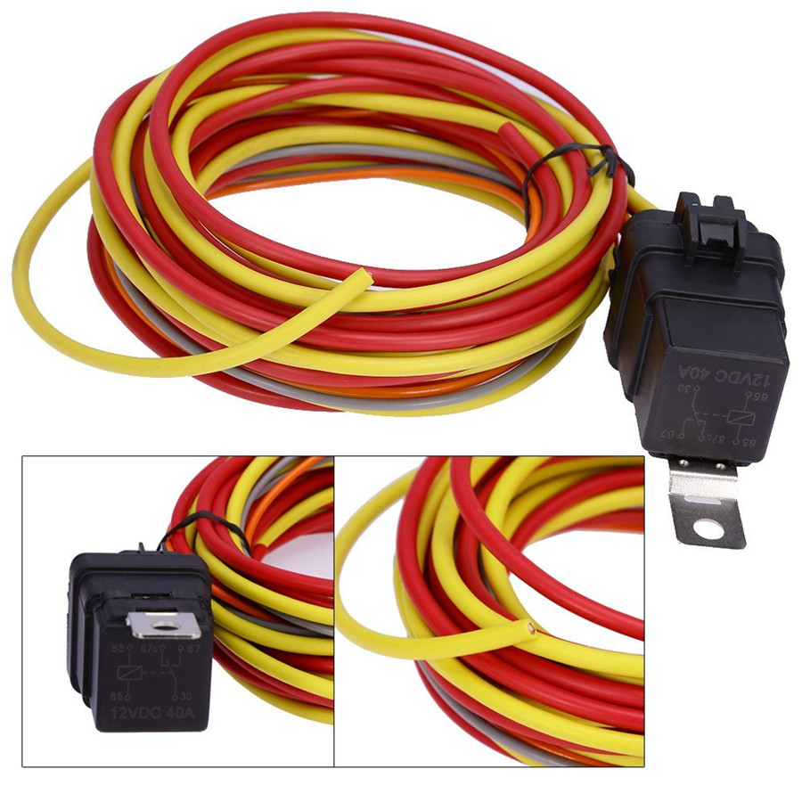 Dual Electric Cooling Fan Wiring Harness Thermostat Temp Switch Relay For Sensor Kit