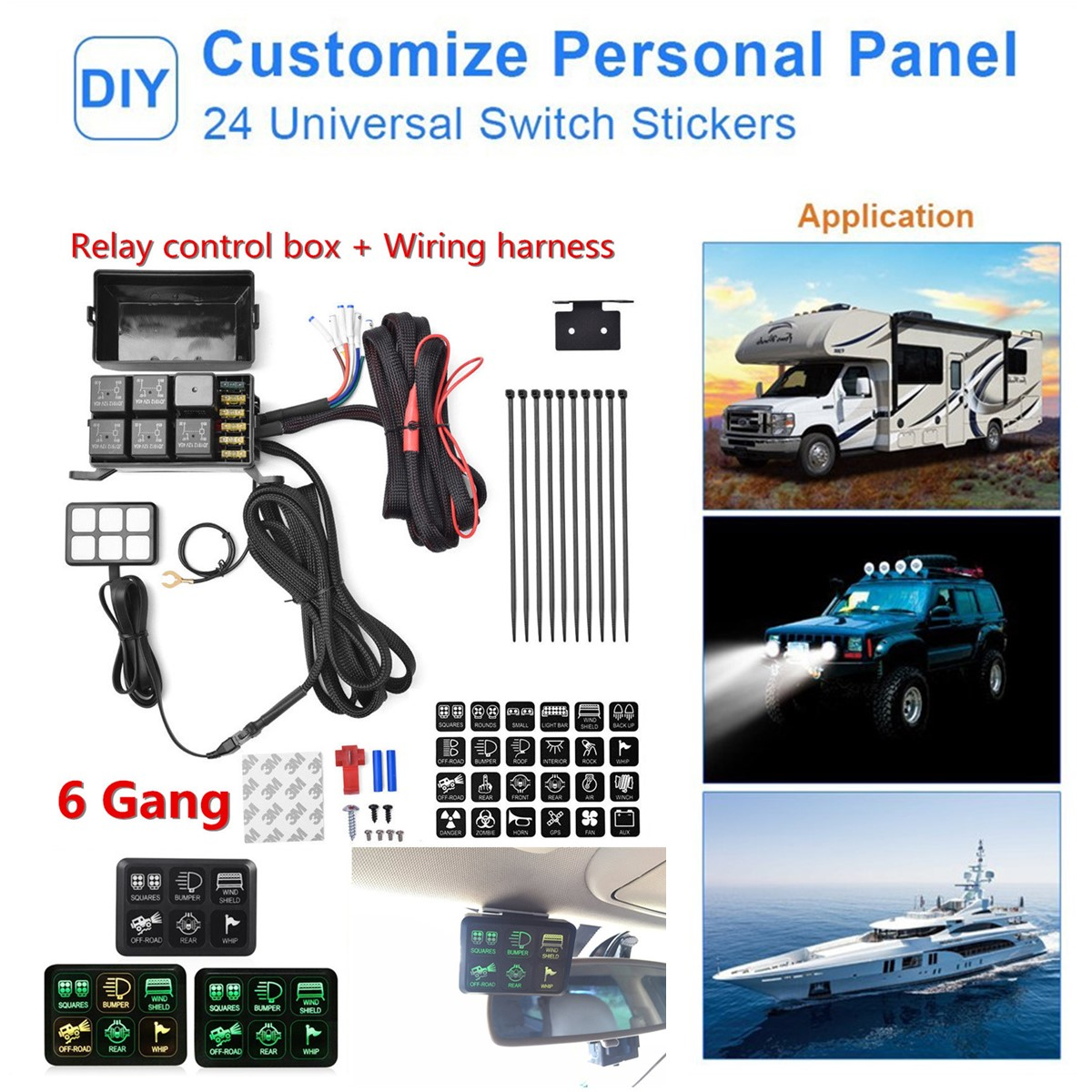 Waterproof 6 Led Switch Panel Relay Control Box Wiring Harness 12v Commercial Motor Item Specifics