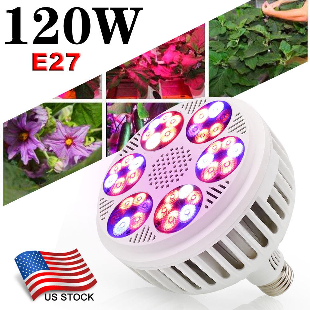 120W E27 LED Grow Light Bulbs 36LEDs Full Spectrum Indoor Hydroponics Plant Lamp